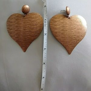 Large copper colored heart earrings
